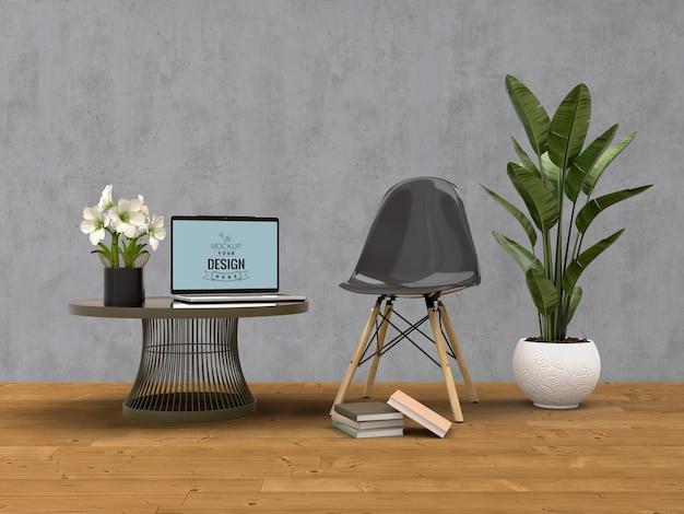 Makieta laptopa z dekoracją domu w nowoczesnym wnętrzu salonu.