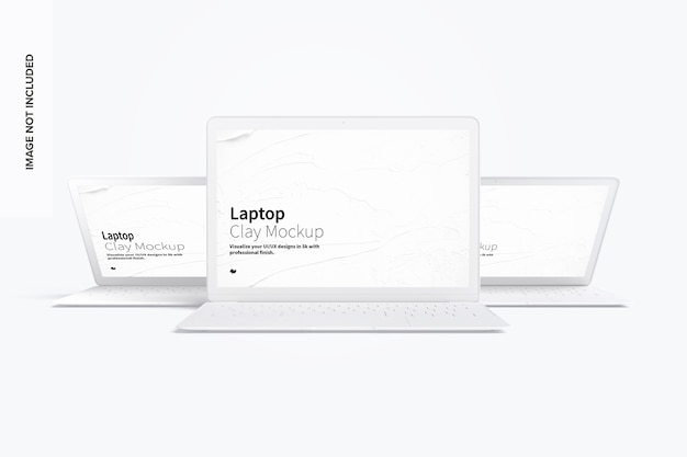 Makieta laptopa z gliny z widoku