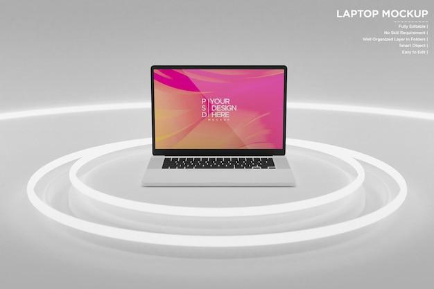 Makieta laptopa z neonówkami