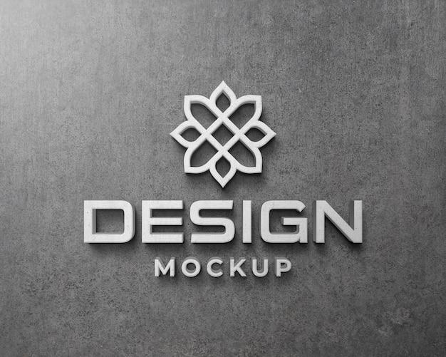 Makieta logo 3d na betonowej ścianie