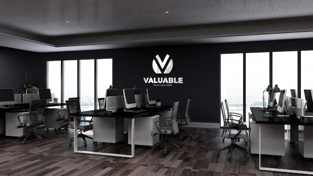 Makieta logo 3d na ścianie w biurze lub miejscu pracy