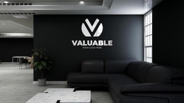Makieta logo 3d na ścianie w kawiarni z sofą