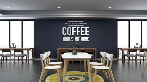 Makieta logo 3d na ścianie w kawiarni