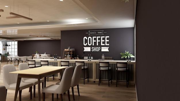Makieta logo 3d na ścianie w nowoczesnym wnętrzu kawiarni