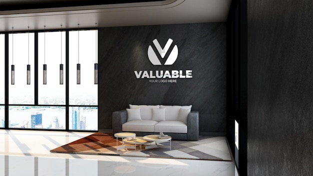Makieta logo 3d na ścianie w poczekalni w holu biurowym lub pokoju relaksacyjnym