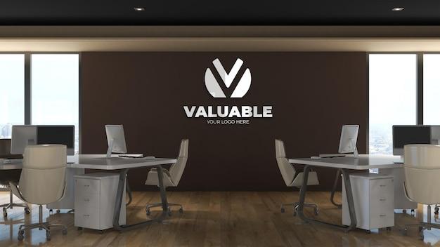 Makieta logo 3d na ścianie w pokoju biznesowym w biurze w miejscu pracy
