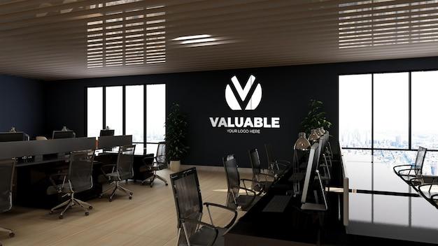 Makieta logo 3d na ścianie w przestrzeni roboczej biura