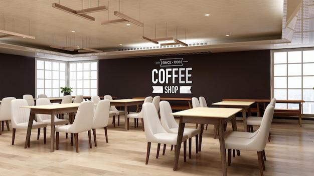 Makieta logo 3d na ścianie w restauracji lub kawiarni z drewnianym wystrojem wnętrz
