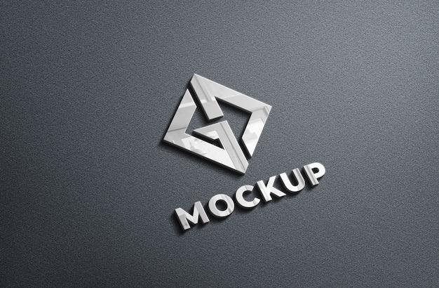 Makieta logo 3d realistyczne chromowane