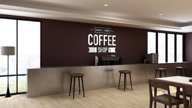 Makieta logo 3d w kawiarni lub restauracji z nowoczesnym wystrojem wnętrz