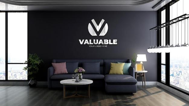 Makieta logo 3d w nowoczesnej poczekalni biurowej z niebieską sofą