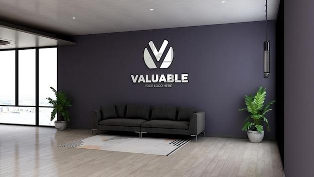 Makieta logo 3d w nowoczesnej poczekalni w holu biurowym