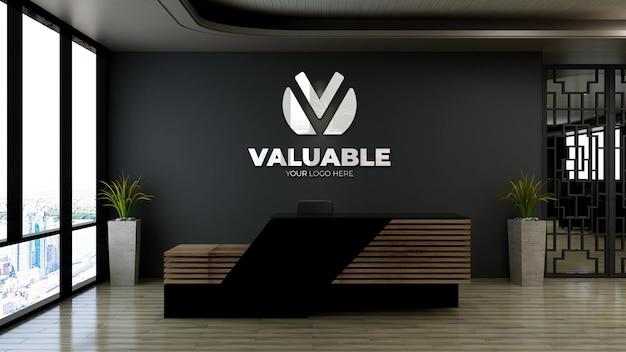 Makieta logo 3d w recepcji biurowej lub pokoju recepcjonisty