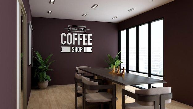 Makieta logo 3d w sali konferencyjnej kawiarni lub restauracji