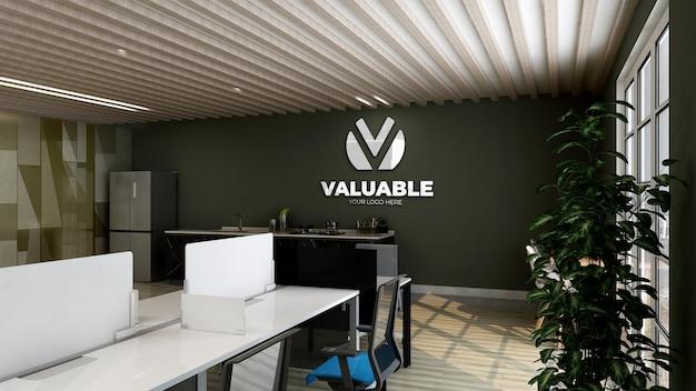 Makieta logo 3d w spiżarni biurowej z zieloną ścianą