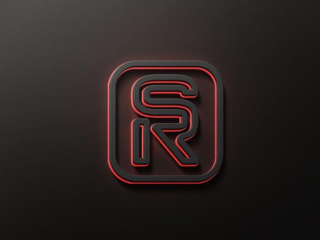 Makieta logo 3d z efektem czerwonego neonu