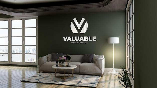Makieta Logo 3d Z Logo Odbicia W Zielonej ścianie W Holu Biurowym Poczekalni Na Relaks Premium Psd