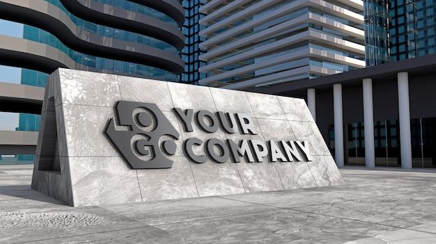 Makieta logo 3d znak elewacji stojącego betonu przed nowoczesnym budynkiem