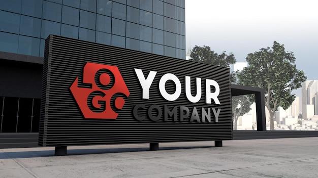 Makieta logo 3d znak elewacji stojącej przed nowoczesnym projektem budynku