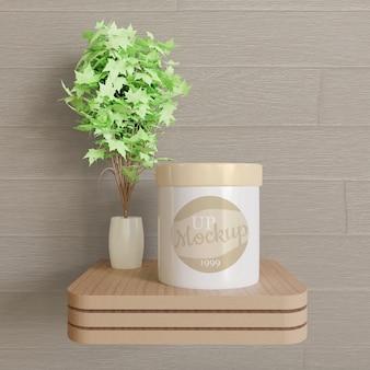 Makieta logo białego słoika na drewnianym biurku
