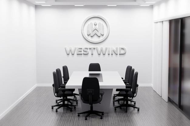Makieta logo biura z białą ścianą w sali konferencyjnej