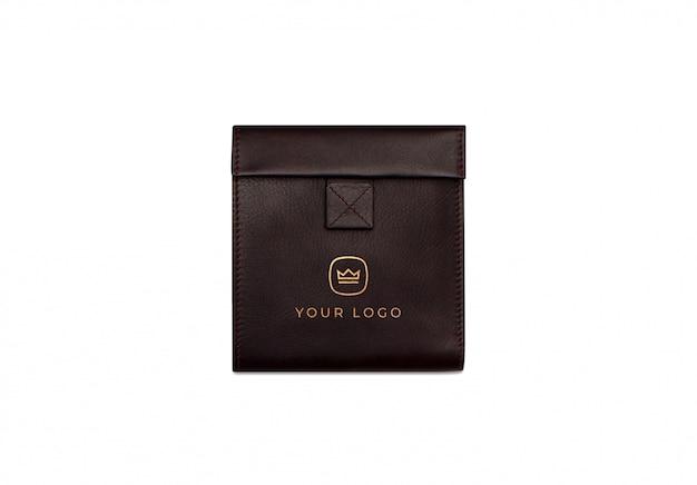 Makieta logo brązowy skórzany portfel