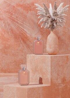 Makieta logo butelki perfum na beżowym tle do prezentacji marki renderowania 3d