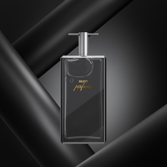 Makieta logo butelki perfum na czarnym tle