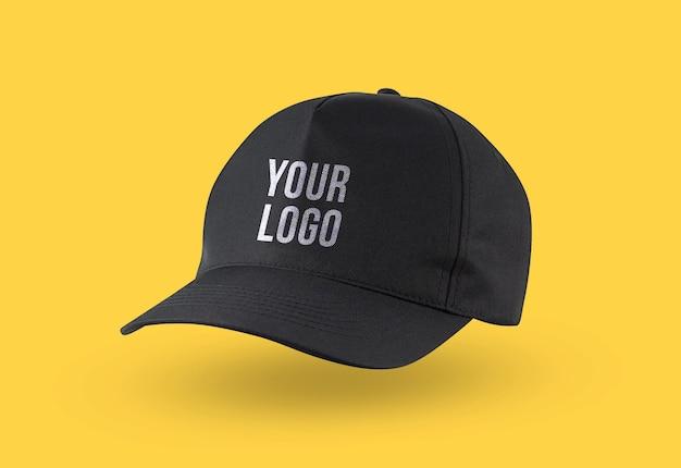Makieta logo czarnej czapki do brandingu