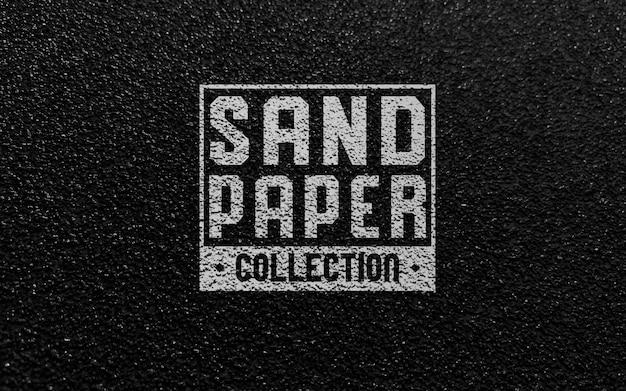 Makieta logo czarny arkusz papieru ściernego
