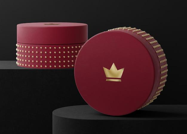 Makieta logo czerwone pudełko z biżuterią renderowania 3d tożsamości marki