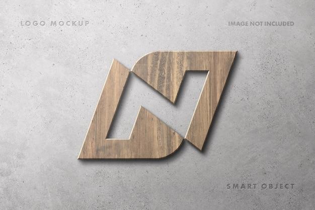 Makieta logo drewnianego znaku na betonowej ścianie