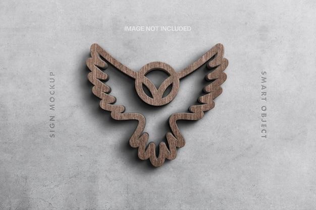 Makieta logo drewniany znak