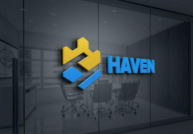 Makieta logo efekt stylu tekst ściany szklane
