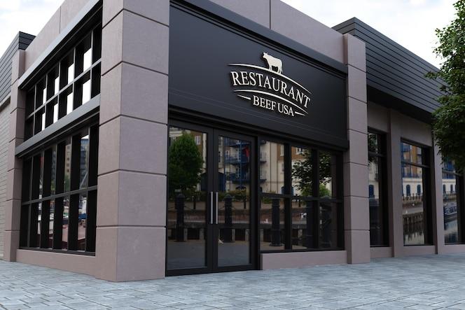 Makieta logo fasady restauracji