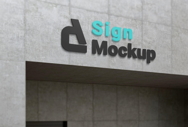 Makieta logo firmy na betonowej elewacji