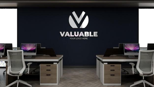 Makieta logo firmy w pokoju pracy biurowej