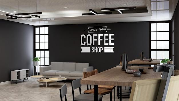 Makieta logo kawiarni lub kawiarni ściennej do brandingu w nowoczesnej kawiarni z sofą