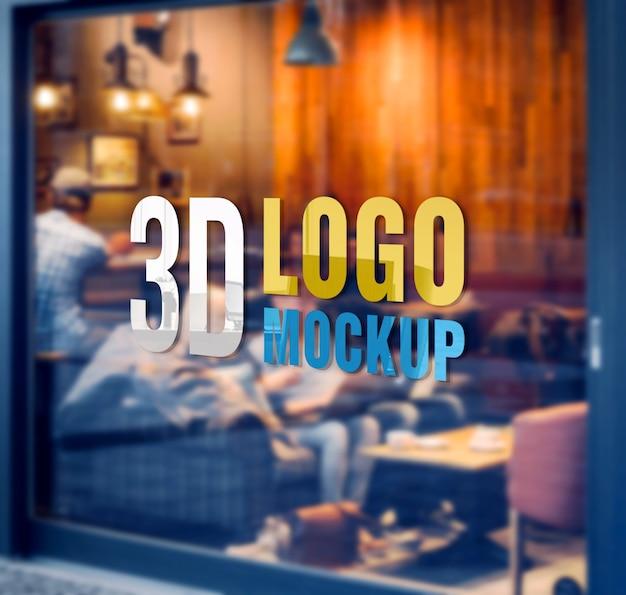 Makieta logo kawiarni na szklanej ścianie