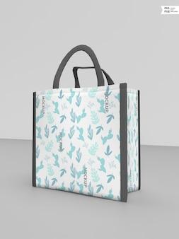 Makieta logo kwadratowej torby z tkaniny