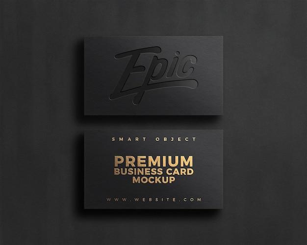 Makieta logo luksusowej wizytówki z efektem tłoczenia i wytłoczenia