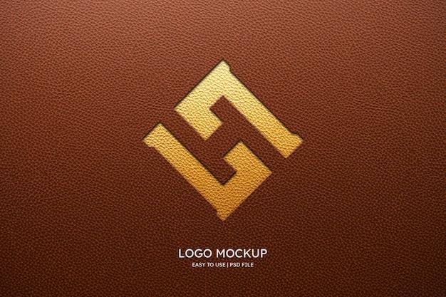 Makieta Logo Na Brązowej Skórze Darmowe Psd