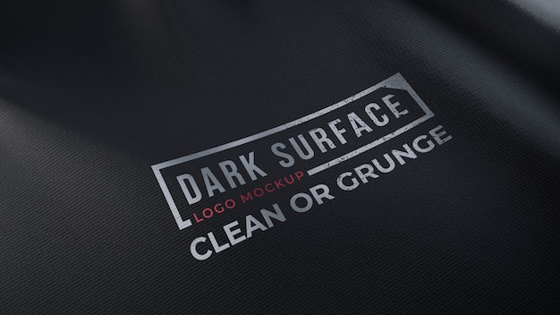 Makieta logo na ciemnym pomarszczonym materiale