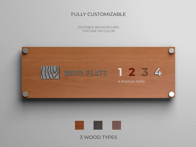 Makieta logo na drewnianym talerzu w różnych stylach i rodzajach drewna