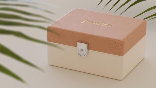 Makieta logo na luksusowym beżowym zegarku i szkatułce z biżuterią renderowania 3d