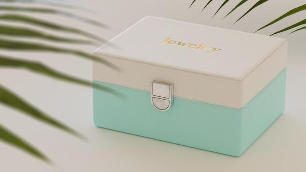 Makieta logo na luksusowym miętowym białym pudełku z biżuterią renderowania 3d