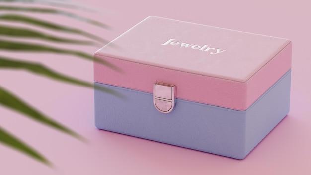 Makieta logo na luksusowym niebieskim i różowym pudełku z biżuterią renderowania 3d