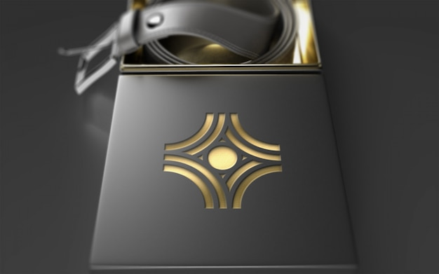 Makieta logo na opakowaniu skórzanego paska