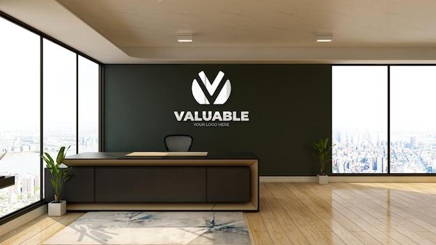 Makieta logo na ścianie w biurku w recepcji