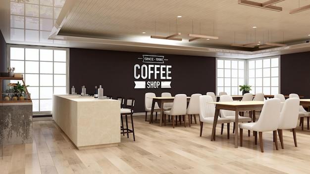 Makieta logo na ścianie w kawiarni z drewnianym stołem i krzesłem